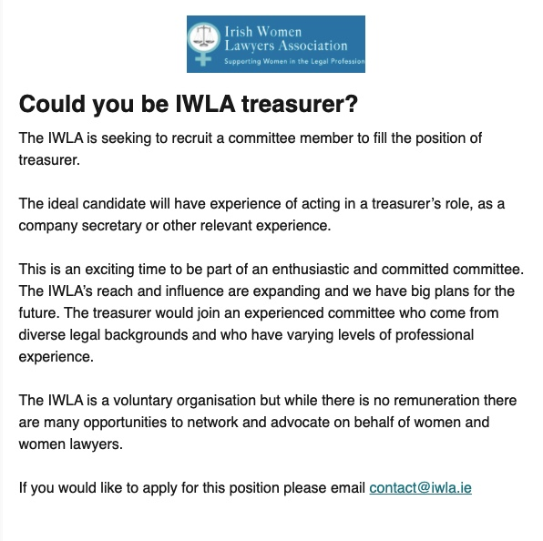 IWLA is recruiting a new Treasurer